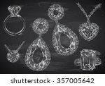 hand drawn jewelry set on... | Shutterstock .eps vector #357005642