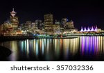 Stock photo night view of waterfront downtown vancouver 357032336