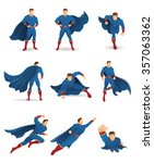 superhero in action. set of... | Shutterstock .eps vector #357063362