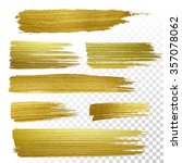 vector gold paint stroke set | Shutterstock .eps vector #357078062