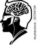 modern man human brain | Shutterstock .eps vector #35709739