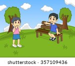 children at the park cartoon... | Shutterstock .eps vector #357109436