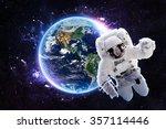astronaut over earth   elements ... | Shutterstock . vector #357114446