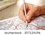 adult antistress colouring book ... | Shutterstock . vector #357124196