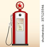 red vintage gas station in the... | Shutterstock .eps vector #357125546