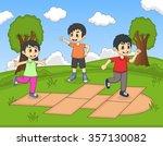 children playing hopscotch at... | Shutterstock .eps vector #357130082