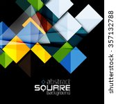 glossy color squares on black.... | Shutterstock .eps vector #357132788