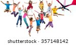 large group of happy cheerful... | Shutterstock . vector #357148142