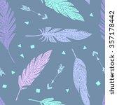vector seamless cute feather... | Shutterstock .eps vector #357178442