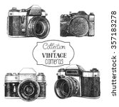 set of hand drawn vintage... | Shutterstock . vector #357183278