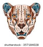 cheetah head zentangle stylized ... | Shutterstock .eps vector #357184028