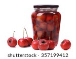 Small photo of Glass canned foods, canned hawthorn in white background