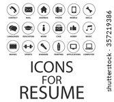 icons set for your resume  cv ... | Shutterstock .eps vector #357219386