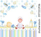 baby shower card with toys.    Shutterstock .eps vector #357221936