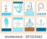 hand drawn sea icons cartoon... | Shutterstock .eps vector #357223262