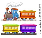 color trains  wagons and rails | Shutterstock .eps vector #357235775