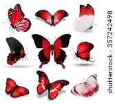 Nine Red Butterflies On White...