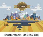 autumn landscape. small town.... | Shutterstock .eps vector #357252188