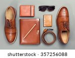 top view of brown man's... | Shutterstock . vector #357256088