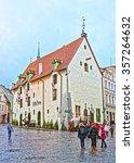 Small photo of TALLINN, ESTONIA - DECEMBER 28, 2011: Olde Hansa restaurant building in the Old city of Tallinn in Estonia