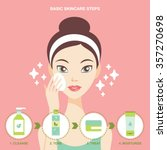 skincare steps flat design... | Shutterstock .eps vector #357270698