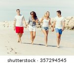 company of young friends on the ... | Shutterstock . vector #357294545