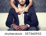 woman hands undress man shirt... | Shutterstock . vector #357360932
