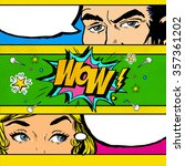 pop art couple conversation.... | Shutterstock . vector #357361202
