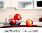 apples in a glass bowl on... | Shutterstock . vector #357367202