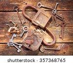 Old Rusty Locks And Keys On...