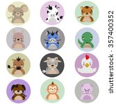 chinese zodiac flat icon set | Shutterstock .eps vector #357400352