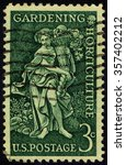 Small photo of UNITED STATES OF AMERICA- CIRCA 1958: A stamp printed in USA shows Bountiful Earth allegory devoted to Garden clubs of America & Century of the Birth of Liberty Hyde Bailey, Horticulturist, circa 1958