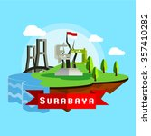 surabaya city scape in flat... | Shutterstock .eps vector #357410282