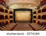 Theater Stage With Gold Safety...