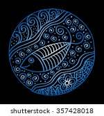 ornamental fish on ethnic... | Shutterstock .eps vector #357428018