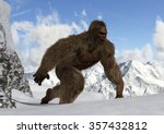 Stock photo sasquatch bigfoot yeti on snowy mountain peaks 357432812