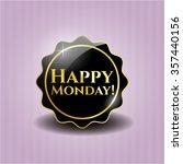 happy monday  black emblem or... | Shutterstock .eps vector #357440156