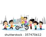 cartoon vector boy girl enjoy... | Shutterstock .eps vector #357470612