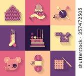 handmade knitting illustration  ... | Shutterstock .eps vector #357472505