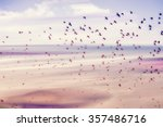 Birds flying and abstract sky ...