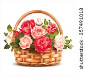basket with roses isolated on... | Shutterstock .eps vector #357491018