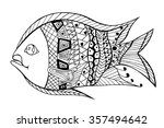 zentangle stylized fish. hand...   Shutterstock .eps vector #357494642