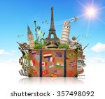 famous monuments of the world... | Shutterstock . vector #357498092