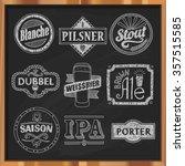 hand drawn craft beer labels.... | Shutterstock .eps vector #357515585
