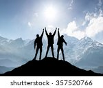 silhouettes of team on mountain ...   Shutterstock . vector #357520766