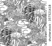 Coral Reef  In Line Art Style...