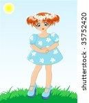 little girl in blue dress in a... | Shutterstock .eps vector #35752420