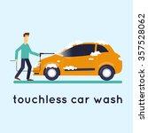 contact less car wash. flat... | Shutterstock .eps vector #357528062