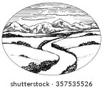 mountains and valley with river ... | Shutterstock .eps vector #357535526