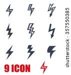vector black lightning icon set. | Shutterstock .eps vector #357550385